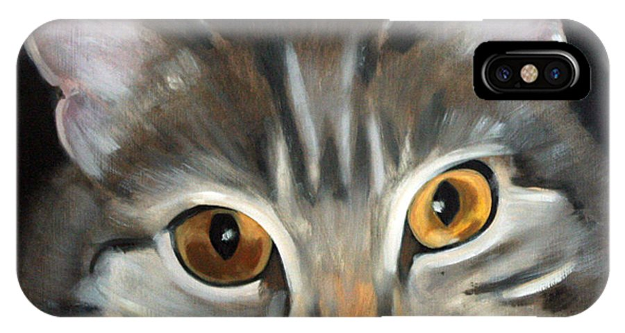Portrait IPhone X Case featuring the painting Bonnie by Fiona Jack