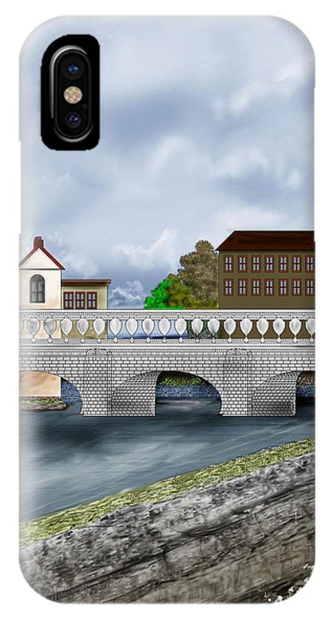 Galway Ireland Bridge IPhone X Case featuring the painting Bridge In Old Galway Ireland by Anne Norskog