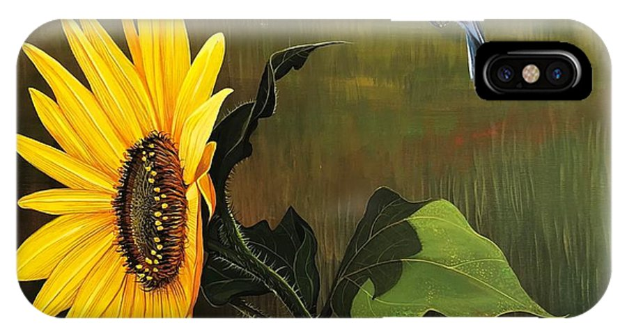 Sunflower IPhone X Case featuring the painting Bright As Yellow by Hunter Jay