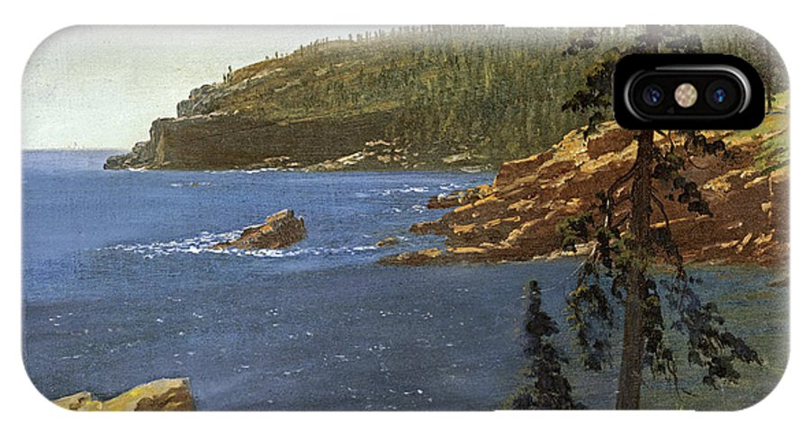 Albert Bierstadt IPhone X Case featuring the painting California Coast by MotionAge Designs