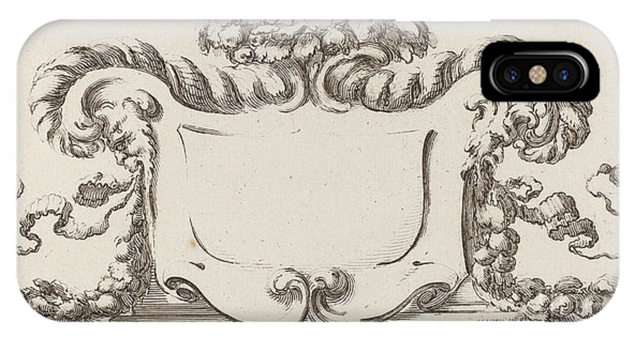 IPhone X Case featuring the drawing Cartouche by Fran?ois Collignon After Stefano Della Bella