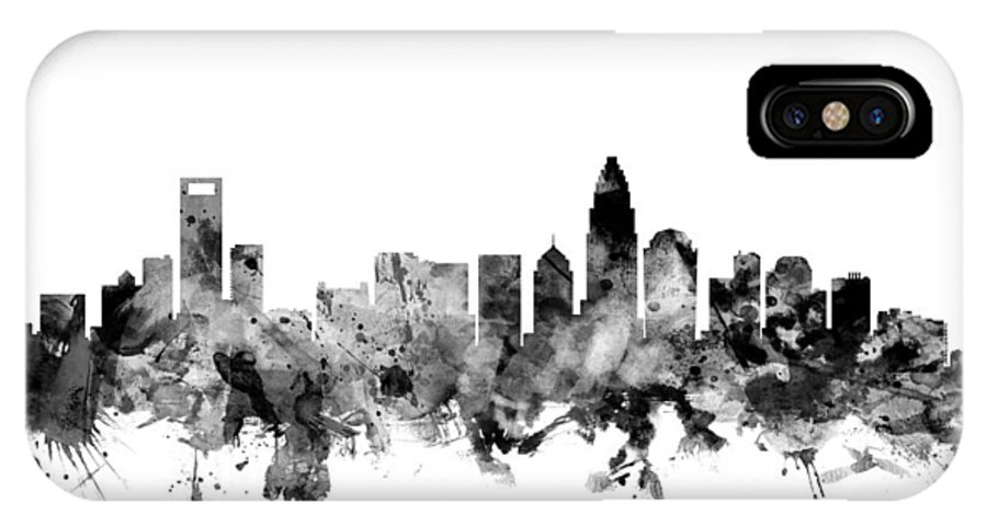 United States IPhone X Case featuring the digital art Charlotte North Carolina Skyline by Michael Tompsett