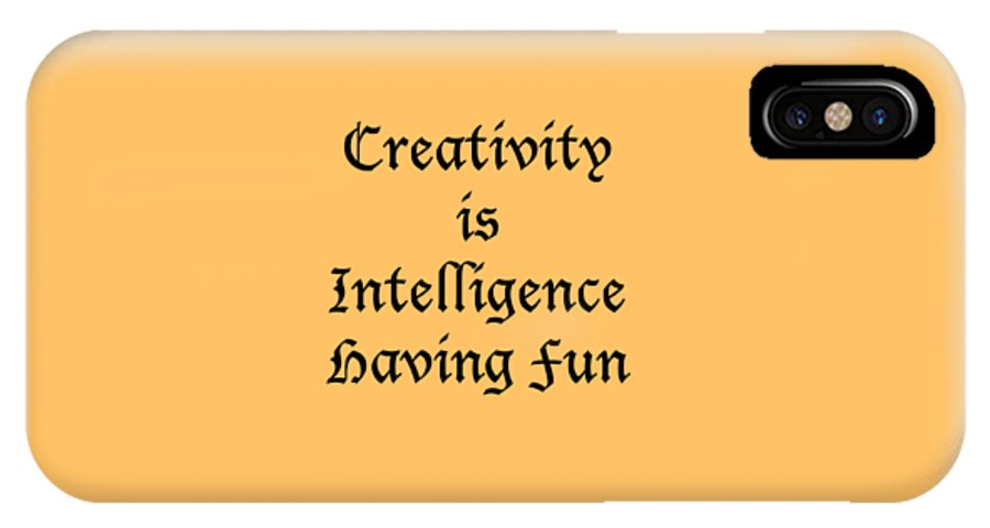 Creativity Is Intelligence Having Fun; T-shirts; Tote Bags; Duvet Covers; Throw Pillows; Shower Curtains; Art Prints; Framed Prints; Canvas Prints; Acrylic Prints; Metal Prints; Greeting Cards; T Shirts; Tshirts IPhone X Case featuring the photograph Creativity Is Intelligence Having Fun 5429.02 by M K Miller