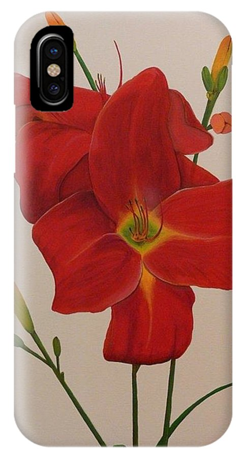Daylilly IPhone X Case featuring the painting 2 Daylillies In Red by Serina Wells