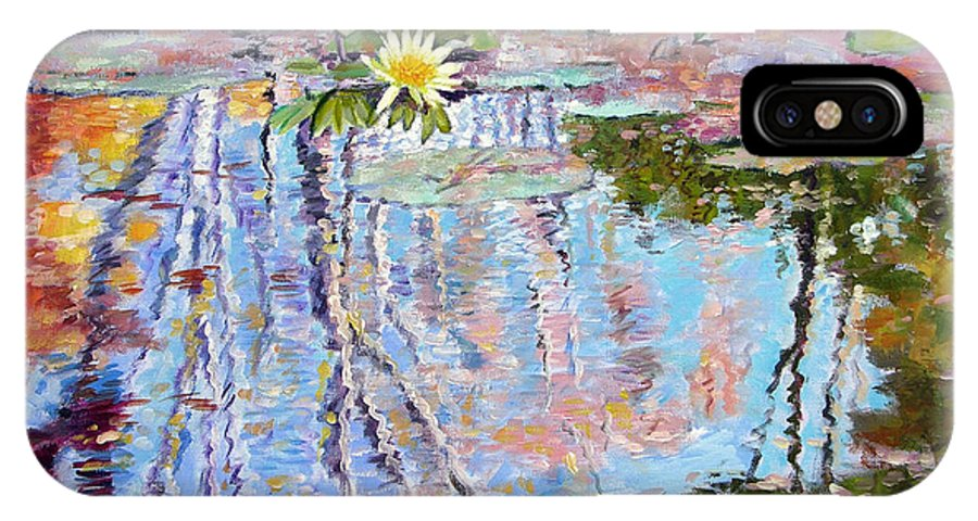 Garden Pond IPhone X Case featuring the painting Fall Reflections by John Lautermilch
