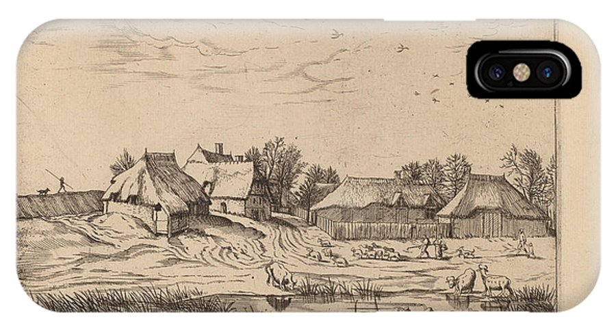 IPhone X Case featuring the drawing Farms by Johannes Van Doetechum, The Elder And Lucas Van Doetechum After Master Of The Small Landscapes