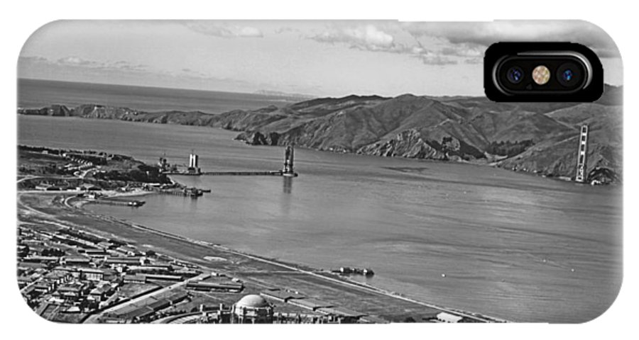 1930s IPhone X Case featuring the photograph Gg Bridge Under Construction by Underwood Archives
