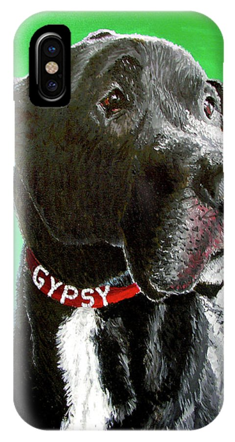 Dog Portrait IPhone X Case featuring the painting Gypsy by Stan Hamilton
