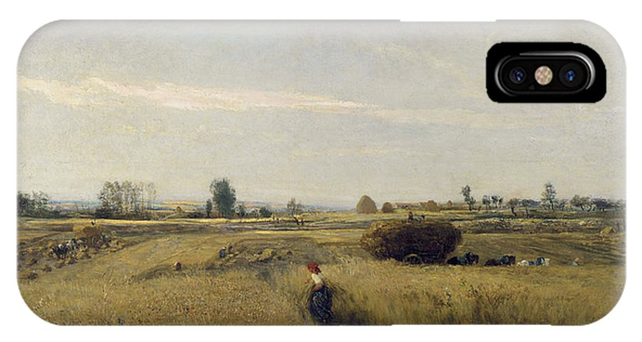 Barbizon School IPhone X Case featuring the painting Harvest by Charles-Francois Daubigny