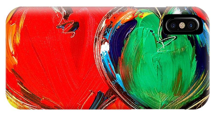 IPhone X Case featuring the mixed media 2 Hearts by Mark Kazav