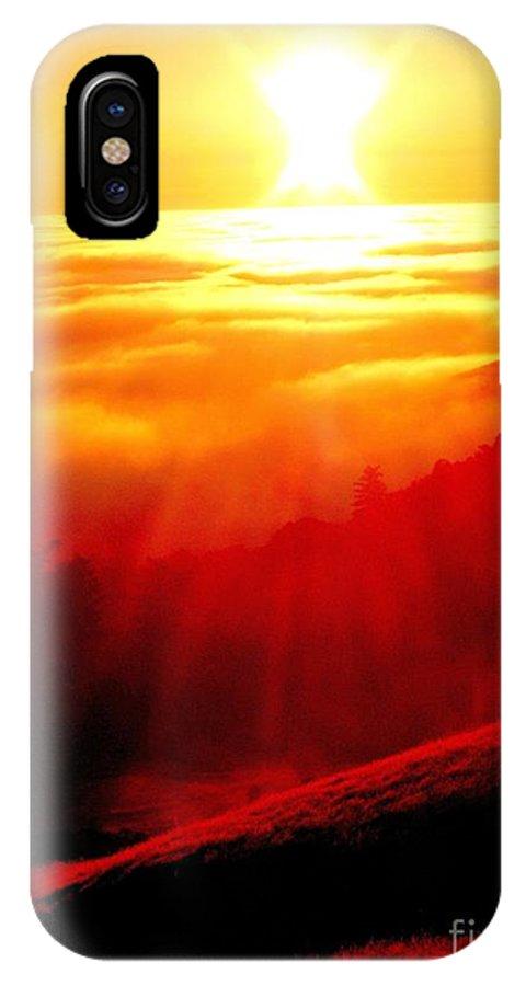 Sun.sunset.light.energy.sky.fog.coastal IPhone X Case featuring the photograph Hope by Kumiko Mayer