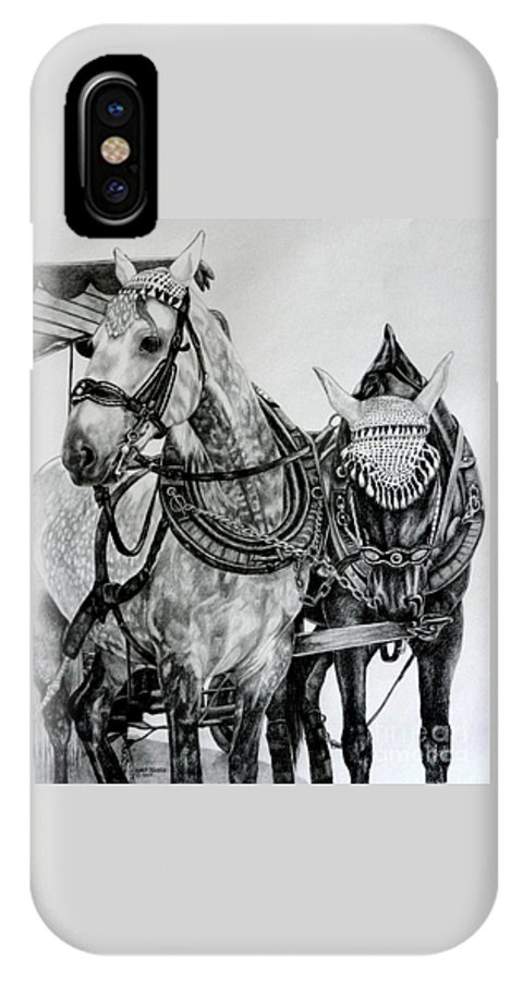 Horse Pencil Black White Germany Rothenburg IPhone X Case featuring the drawing 2 Horses Of Rothenburg 2000usd by Karen Bowden