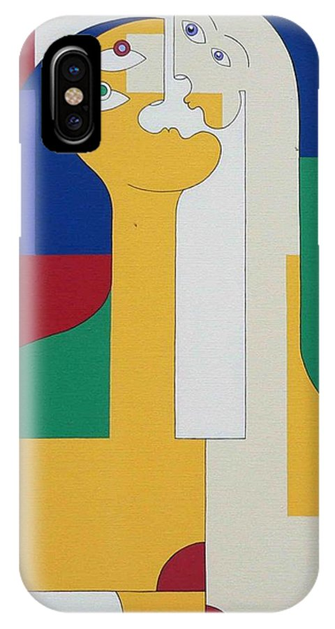Modern Colors Women Humor IPhone Case featuring the painting 2 In 1 by Hildegarde Handsaeme
