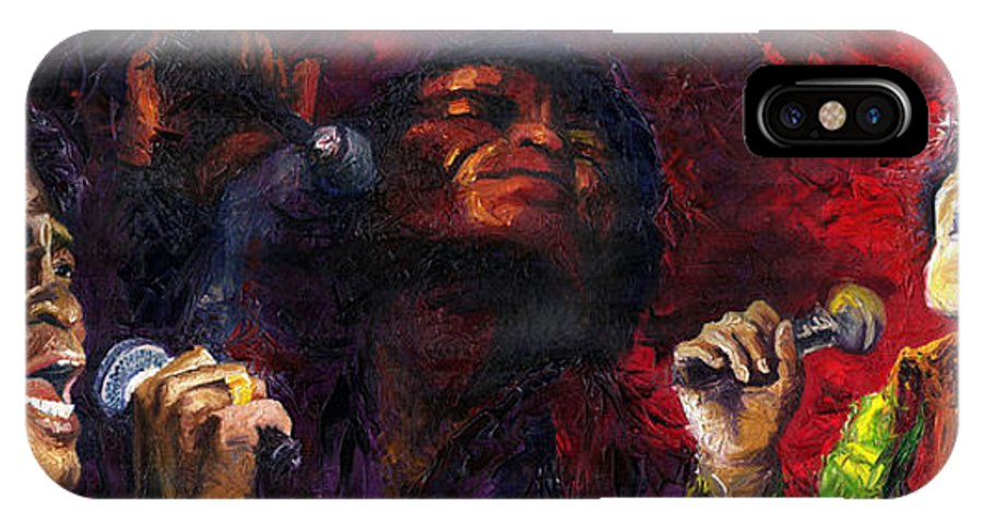 Jazz IPhone X Case featuring the painting Jazz James Brown by Yuriy Shevchuk