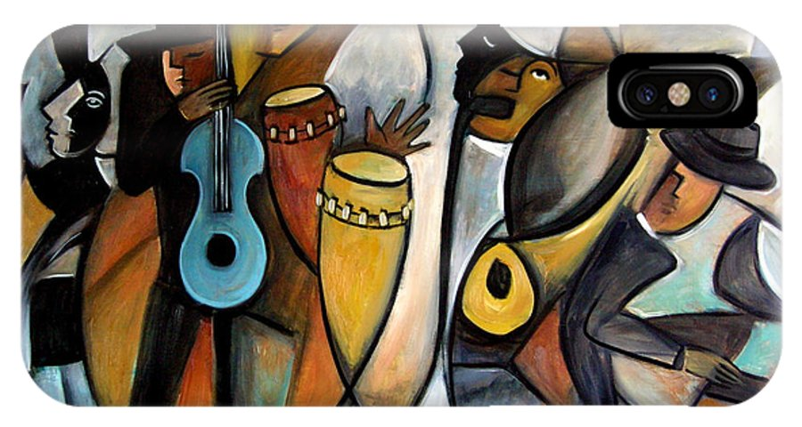 Latin Jazz Musicians IPhone X / XS Case featuring the painting Jazzz by Valerie Vescovi