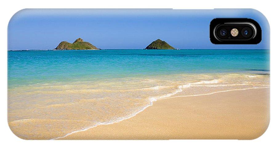 Aqua IPhone X Case featuring the photograph Lanikai, Mokulua Islands by Tomas del Amo - Printscapes