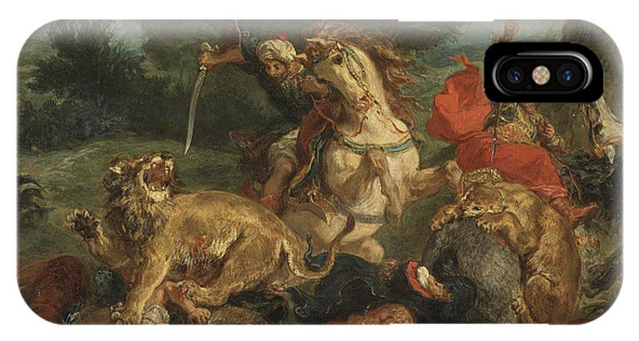 Eugene Delacroix IPhone X Case featuring the painting Lion Hunt by Eugene Delacroix