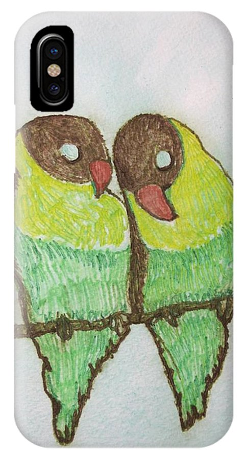 Birds IPhone X Case featuring the painting Love Birds by Patricia Arroyo
