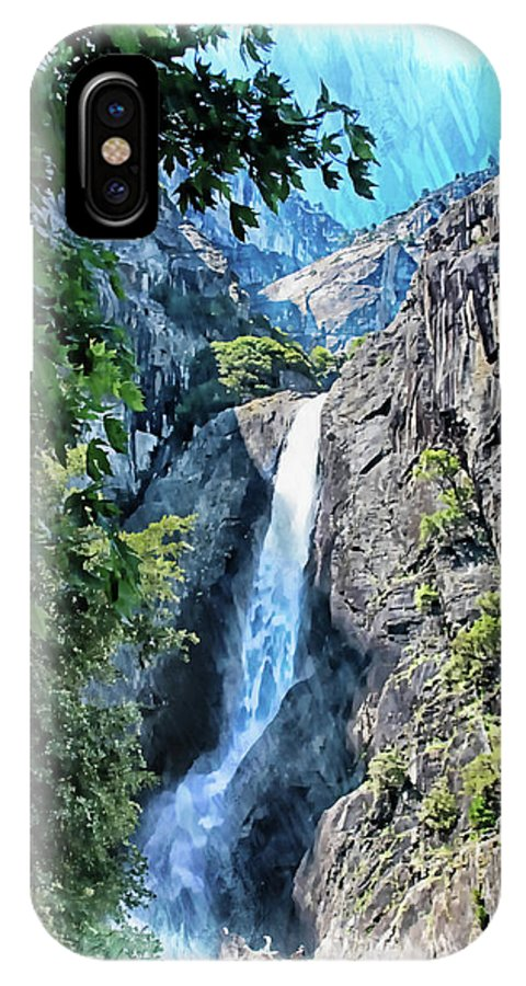 Yosemite IPhone X Case featuring the photograph Lower Yosemite Falls by Margie Wildblood