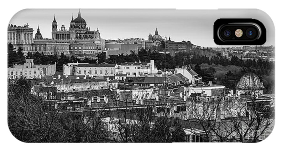 Spain IPhone X Case featuring the photograph Madrid Panorama From Debod Lookout Madrid Spain by Pablo Avanzini
