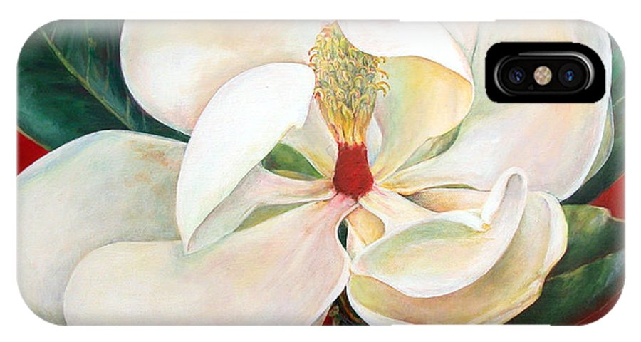 Floral Painting IPhone Case featuring the painting Magnolia by Muriel Dolemieux