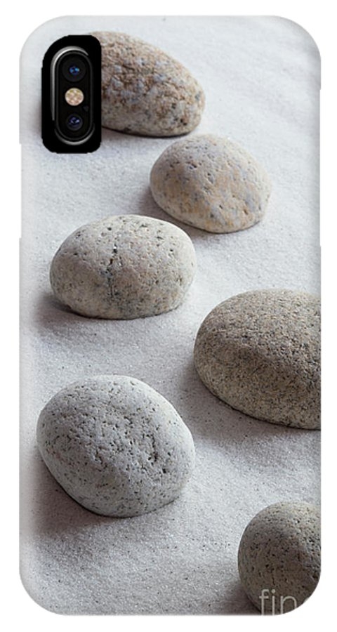 Meditation IPhone X Case featuring the photograph Meditation Stones On White Sand by Michelle Himes