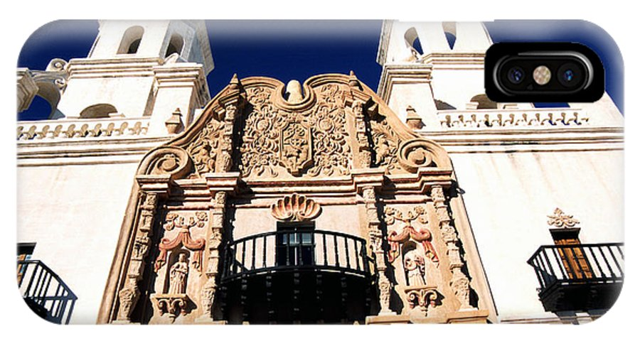 Mission San Xavier Del Bac IPhone X / XS Case featuring the photograph Mission San Xavier Del Bac Tohono O Odham Indian Reservation by Thomas R Fletcher