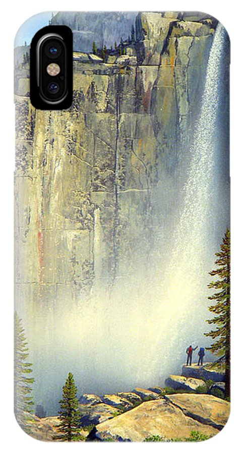 Landscape IPhone X Case featuring the painting Misty Falls by Frank Wilson