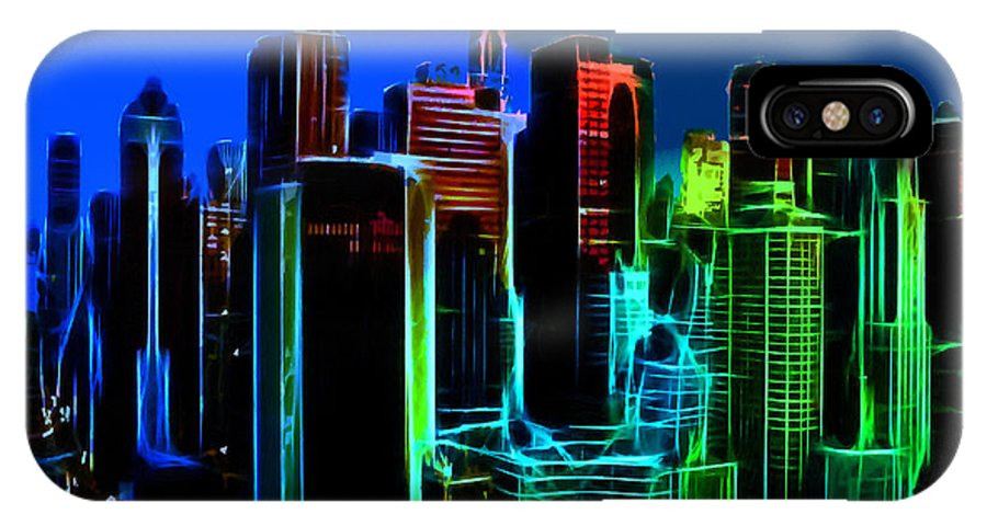 New York City Nyc Ny Big Apple Skyscrapers Night Ligh Lights Moon Moonlight Oil Painting Expressionism Blue Color Colorful Modern Art Cityscape Nightscape IPhone X Case featuring the painting New York Colors by Steve K