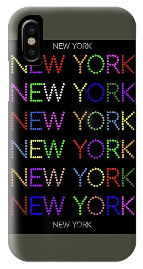 New York IPhone X / XS Case featuring the digital art New York - Multicoloured On Black Background by LogCabinCottage