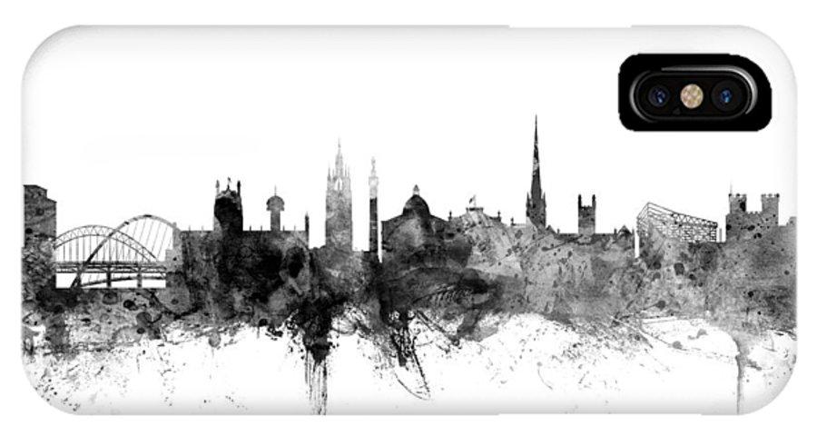 City IPhone X Case featuring the digital art Newcastle England Skyline by Michael Tompsett
