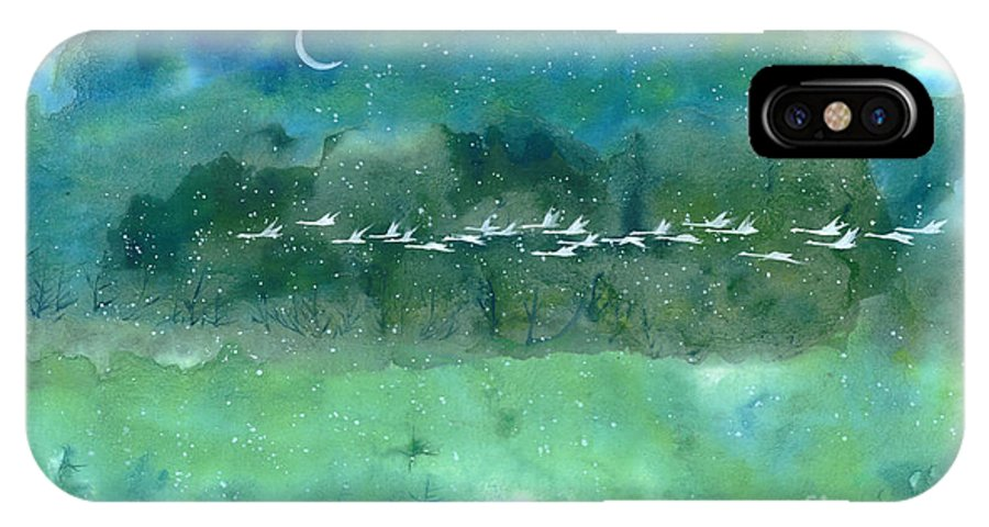 This Is A Contemporary Chinese Ink And Color On Rice Paper Painting With Simple Zen Style Brush Strokes. A Legion Of Birds On A Snowy Night Flight. IPhone X Case featuring the painting Night Flight by Mui-Joo Wee