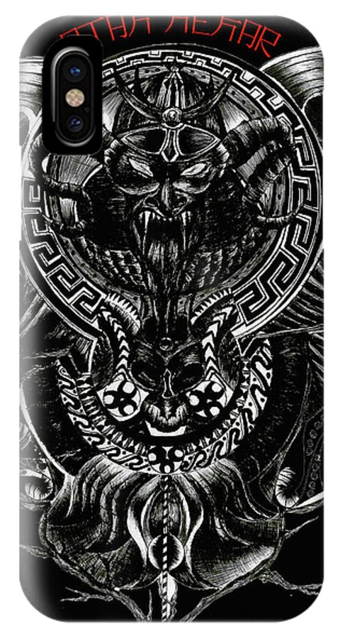 Darkness IPhone X Case featuring the drawing Off The Muun by Yudhit Hadi