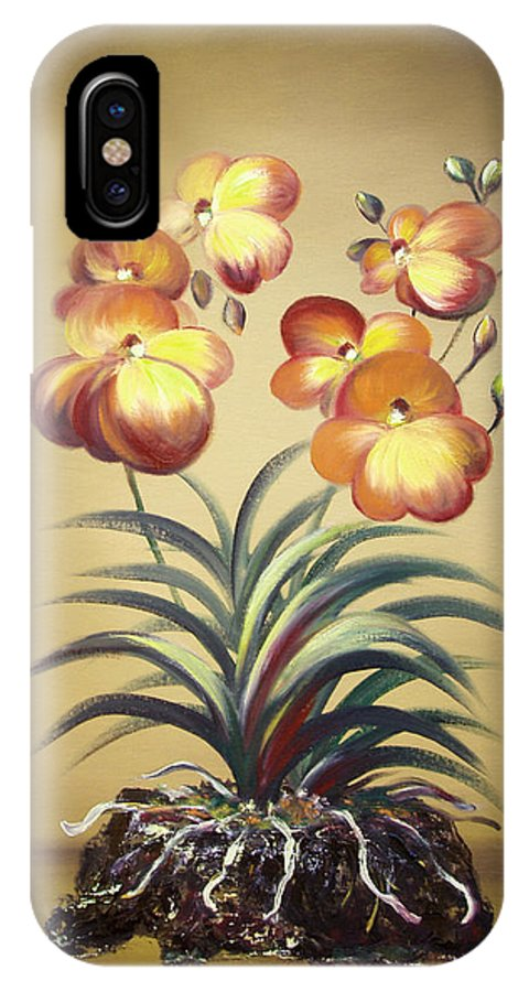 Orange IPhone X Case featuring the painting Orange Orchid Flowers by Gina De Gorna