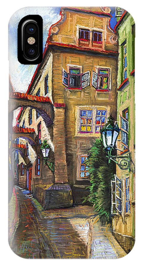Prague IPhone X Case featuring the painting Prague Old Street by Yuriy Shevchuk