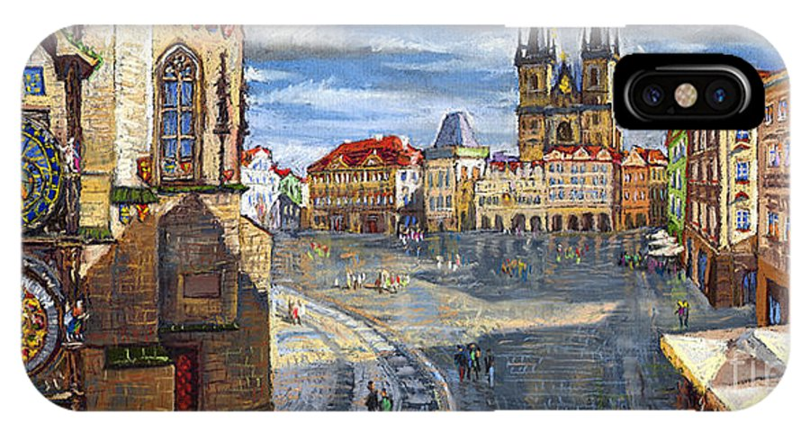Pastel IPhone X Case featuring the painting Prague Old Town Squere by Yuriy Shevchuk