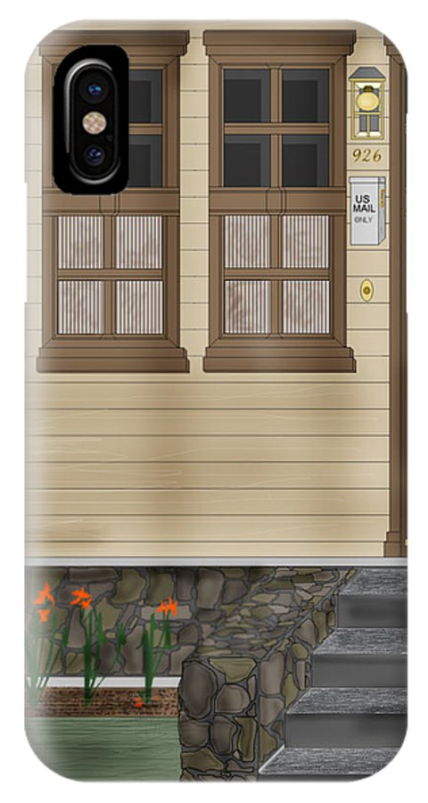 Townscape IPhone X Case featuring the painting Rags on the Front Steps by Anne Norskog