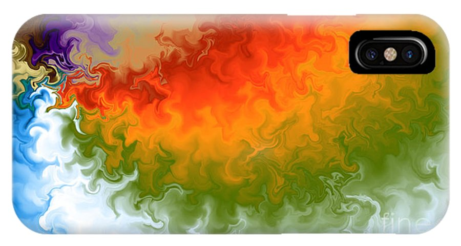 IPhone X Case featuring the digital art Rainbow On Fire by Wild Rose Studio