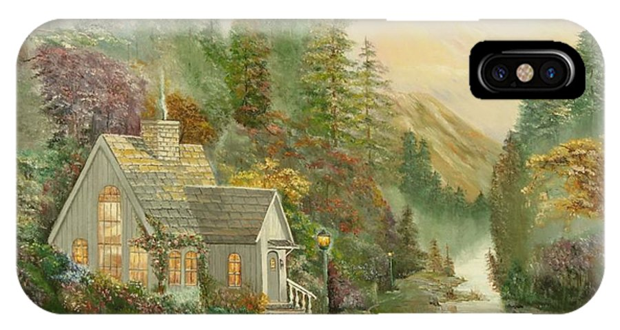 House IPhone X Case featuring the painting Reproduction Of Thomas Kinkade by Mirjana Lesic