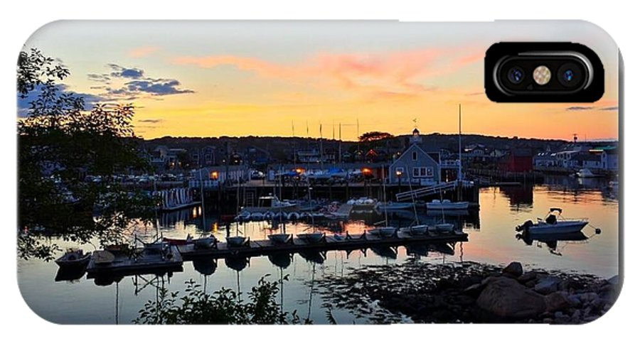 Boats IPhone X Case featuring the photograph Rockport Harbor Sunset I by Harriet Harding
