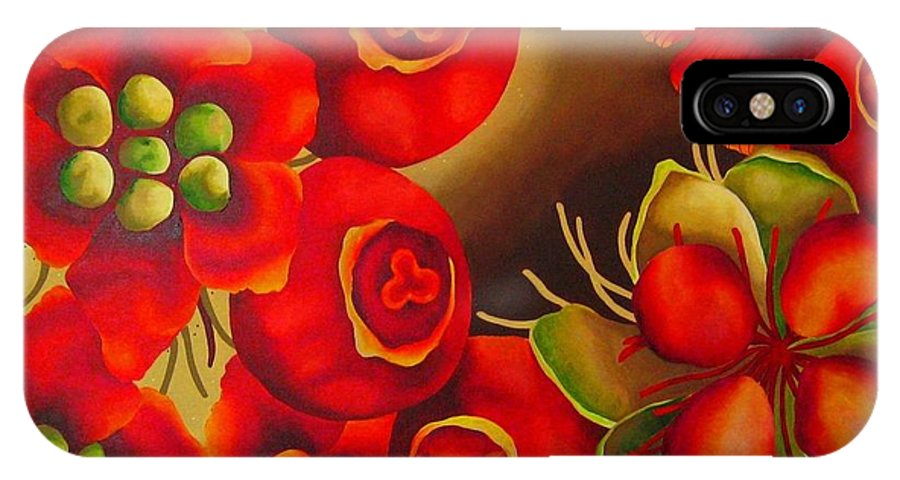 Rosehip IPhone X / XS Case featuring the painting Rosehip by Elizabeth Elequin