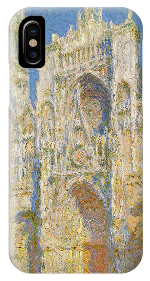 Architectural IPhone X Case featuring the painting Rouen Cathedral, West Facade, Sunlight by Claude Monet