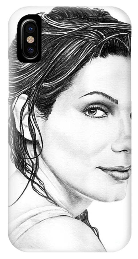 Pencil IPhone X Case featuring the drawing Sandra Bullock by Murphy Elliott