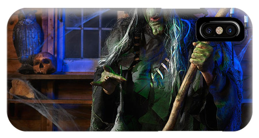 Witch IPhone X Case featuring the photograph Scary Old Witch With A Cauldron by Oleksiy Maksymenko
