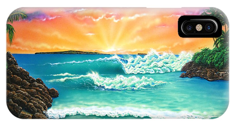 Seascape IPhone X Case featuring the painting Secret Beach by Angie Hamlin