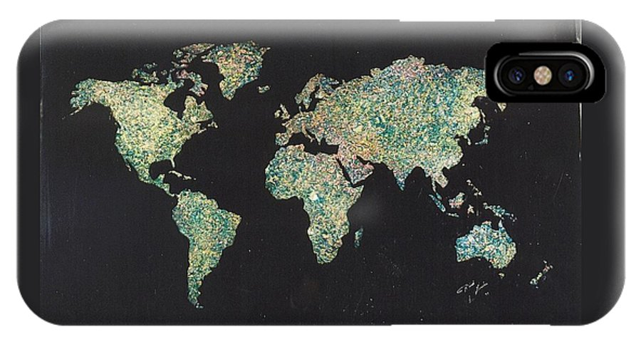 World Maps IPhone Case featuring the painting Shattered World by Rick Silas