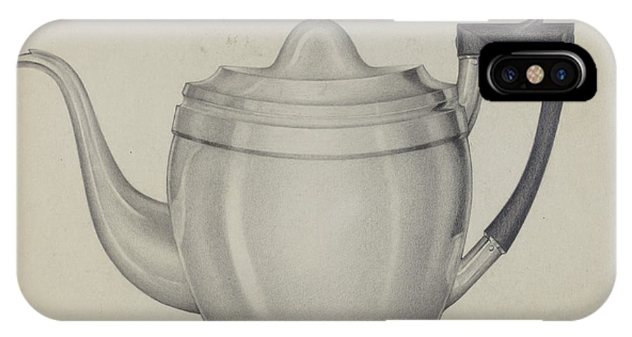 IPhone X Case featuring the drawing Silver Teapot by Giacinto Capelli
