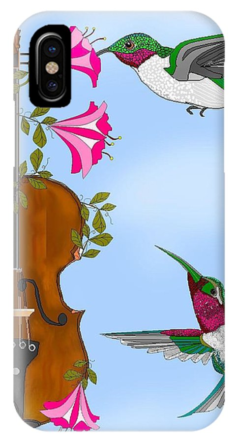 Fantasy IPhone X Case featuring the painting Singing The Song Of Life by Anne Norskog
