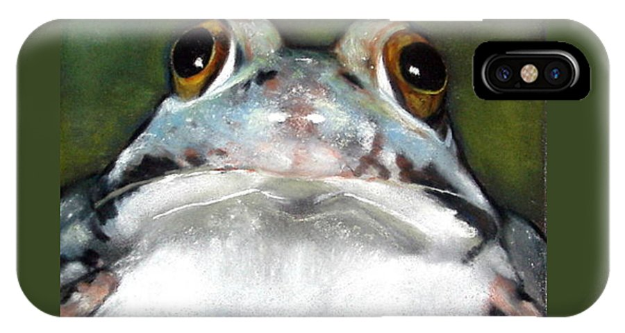 Frog Wildlife Pond Realism Pastels Froggie Toad IPhone Case featuring the pastel Sir Frog by Joyce Geleynse
