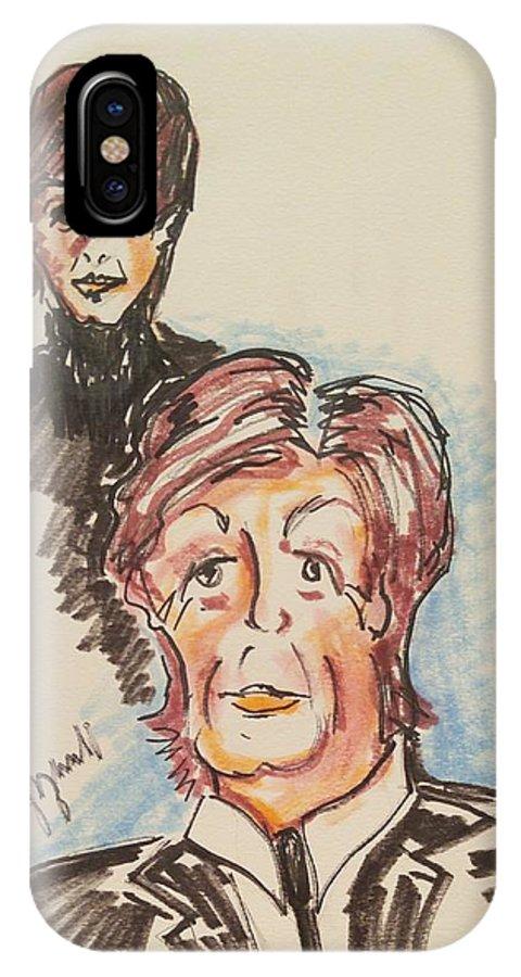Paul Mccartney IPhone X Case featuring the painting Sir Paul Mccartney by Geraldine Myszenski